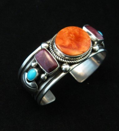 Image 1 of Native American Multistone Sterling Silver Bracelet, Albert Jake, Navajo