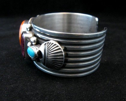 Image 4 of Native American Multistone Sterling Silver Bracelet, Albert Jake, Navajo