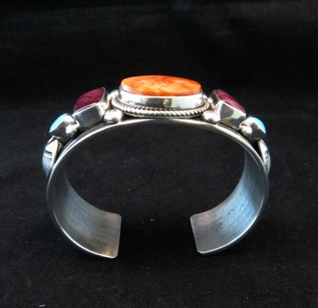 Image 6 of Native American Multistone Sterling Silver Bracelet, Albert Jake, Navajo