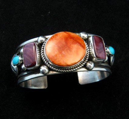 Image 7 of Native American Multistone Sterling Silver Bracelet, Albert Jake, Navajo