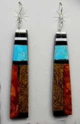 Extra-Long Santo Domingo Kewa Mosaic Inlay Earrings, Delbert Crespin