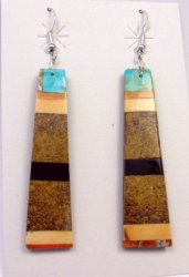 Huge Santo Domingo Kewa Multistone Inlay Earrings, Delbert Crespin