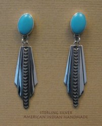 Long Navajo Ronnie Willie Turquoise Post Dangle Earrings