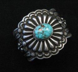 Darrell Cadman Navajo Kingman Birdseye Turquoise Silver Bracelet