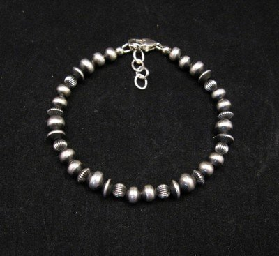 Image 0 of Navajo Hand Finished Mixed Sterling Silver Bead Bracelet