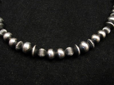 Image 1 of Navajo Hand Finished Mixed Sterling Silver Bead Bracelet