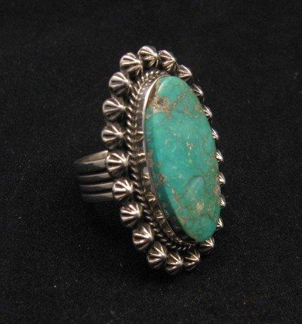 Image 1 of Navajo Royston Turquoise Silver Ring, Happy Piasso sz8-1/2