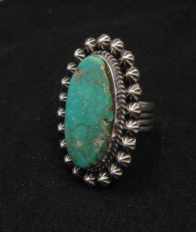 Image 2 of Navajo Royston Turquoise Silver Ring, Happy Piasso sz8-1/2