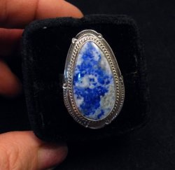 Navajo Native American Lapis Lazuli Sterling Ring sz8-3/4, Thomas Secatero