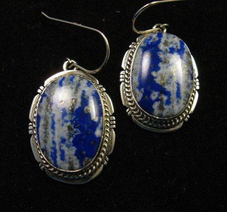 Image 1 of Native American Lapis Sterling Silver Earrings - Navajo Sampson Jake