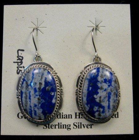 Image 0 of Native American Lapis Sterling Silver Earrings - Navajo Sampson Jake