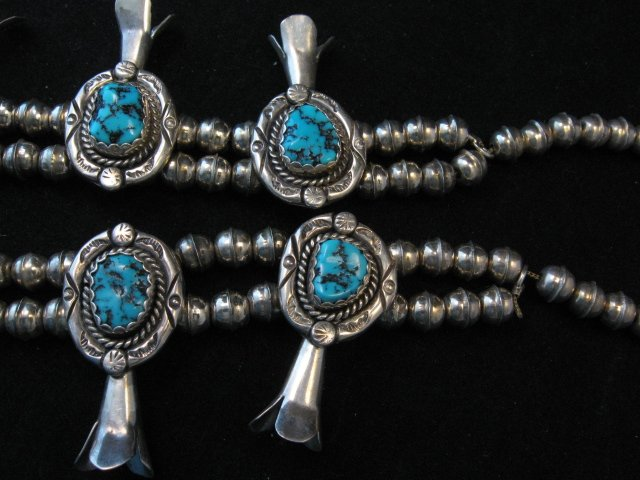 Image 4 of Vintage Native American Turquoise Squash Blossom Necklace, Earrings, V&N Edsitty