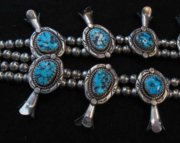 Image 3 of Vintage Native American Turquoise Squash Blossom Necklace, Earrings, V&N Edsitty