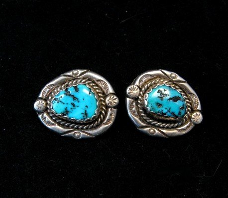 Image 5 of Vintage Native American Turquoise Squash Blossom Necklace, Earrings, V&N Edsitty