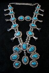 Vintage Native American Turquoise Squash Blossom Necklace, Earrings, V&N Edsitty