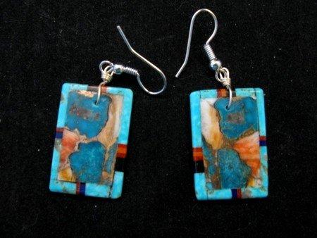 Image 0 of Colorful Santo Domingo Inlaid Turquoise Slab Earrings, Daniel Coriz