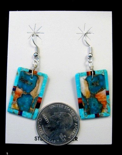 Image 1 of Colorful Santo Domingo Inlaid Turquoise Slab Earrings, Daniel Coriz