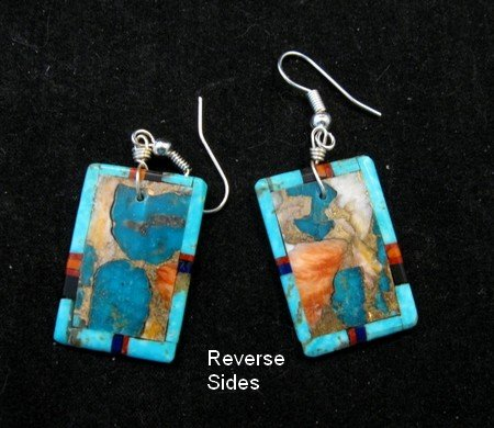 Image 2 of Colorful Santo Domingo Inlaid Turquoise Slab Earrings, Daniel Coriz