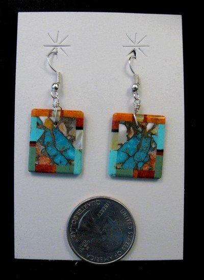 Image 0 of Unique Santo Domingo Turquoise Inlaid Slab Earrings, Daniel Coriz