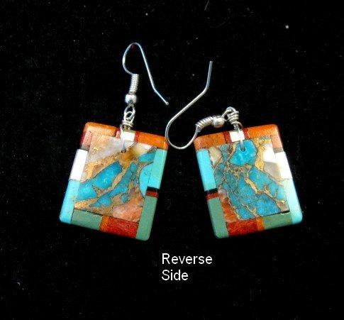 Image 2 of Unique Santo Domingo Turquoise Inlaid Slab Earrings, Daniel Coriz