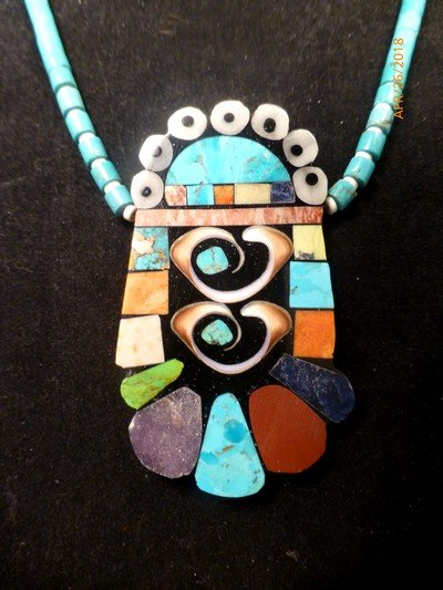 Image 0 of Vibrant Santo Domingo Mosaic Inlay Turquoise Heishi Necklace, Mary Tafoya