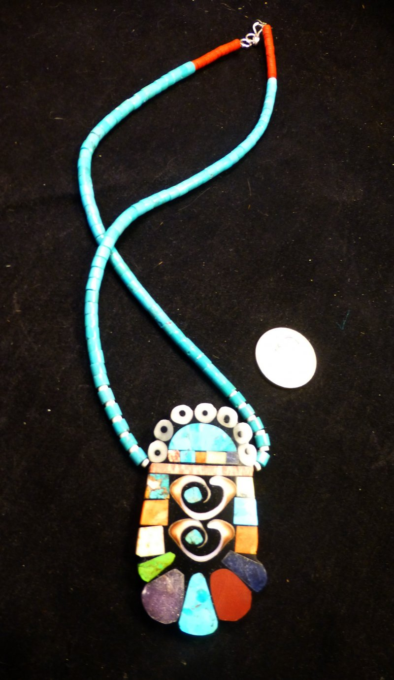 Image 1 of Vibrant Santo Domingo Mosaic Inlay Turquoise Heishi Necklace, Mary Tafoya
