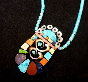 Image 2 of Vibrant Santo Domingo Mosaic Inlay Turquoise Heishi Necklace, Mary Tafoya