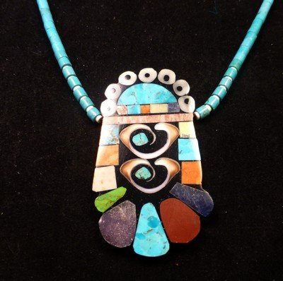 Image 5 of Vibrant Santo Domingo Mosaic Inlay Turquoise Heishi Necklace, Mary Tafoya