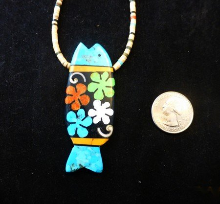 Image 2 of Santo Domingo Pueblo Mosaic Inlay Fish Necklace, Mary Tafoya