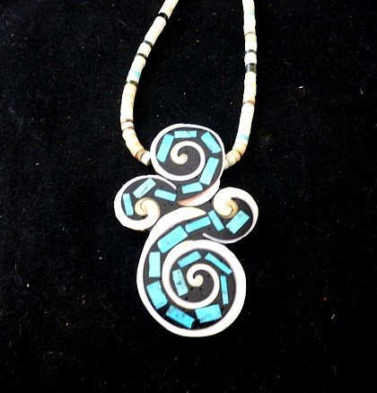 Image 0 of Unique Santo Domingo Kewa Turquoise Inlay Folk Art Necklace, Mary Tafoya