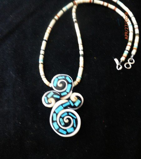 Image 1 of Unique Santo Domingo Kewa Turquoise Inlay Folk Art Necklace, Mary Tafoya