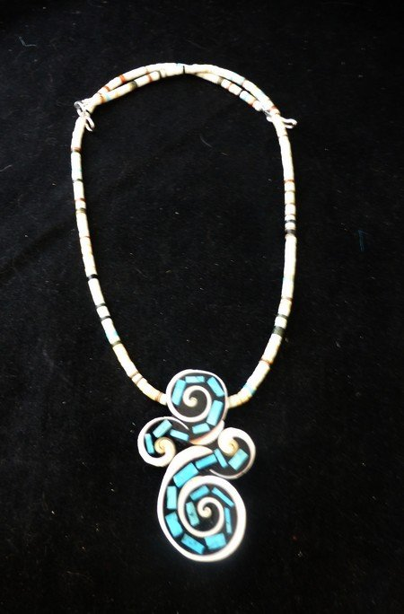 Image 2 of Unique Santo Domingo Kewa Turquoise Inlay Folk Art Necklace, Mary Tafoya