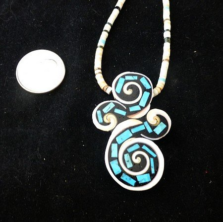Image 3 of Unique Santo Domingo Kewa Turquoise Inlay Folk Art Necklace, Mary Tafoya