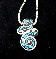 Unique Santo Domingo Kewa Turquoise Inlay Folk Art Necklace, Mary Tafoya