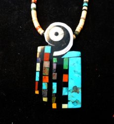 Colorful Santo Domingo Multigem Inlay Pendant & Heishi Necklace, Mary Tafoya