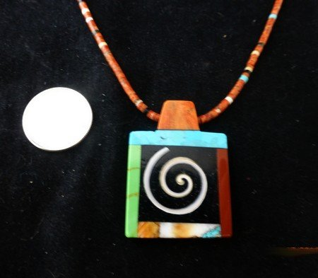 Image 2 of Abstract Santo Domingo Kewa Multigem Inlay Pendant Heishi Necklace, Mary Tafoya