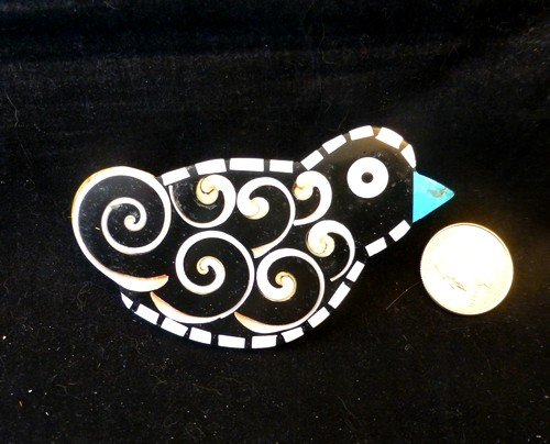 Image 1 of Whimsical Mary Tafoya Santo Domingo Kewa Pueblo Folk Art Inlay Bird Pin/Pendant