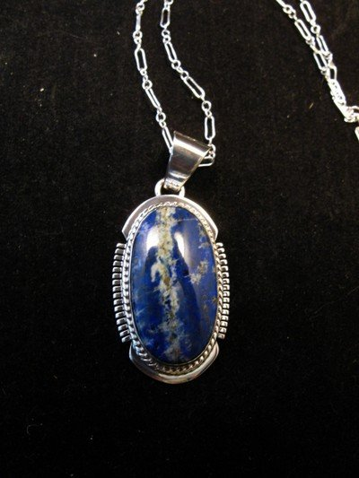 Image 0 of Native American Lapis Sterling Silver Pendant Necklace - Navajo, Larson Lee