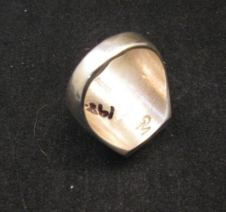 Image 3 of Navajo Indian Ring Turquoise Inlay Size 10 Sterling Silver Wilbert Gray