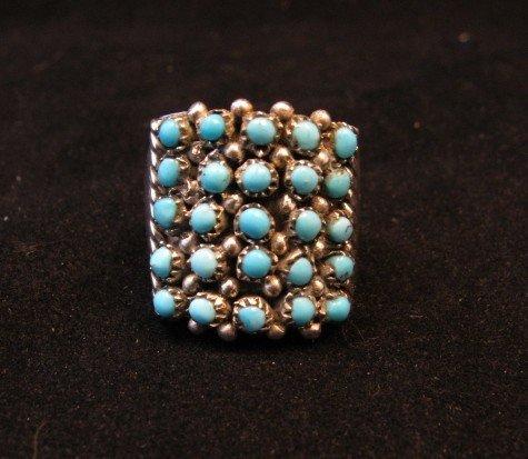 Image 0 of Zuni 5row 25stones Turquoise Snake Eye Ring, Peter Haloo, sz6-1/2