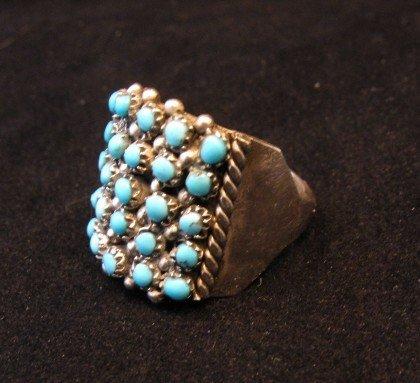 Image 1 of Zuni 5row 25stones Turquoise Snake Eye Ring, Peter Haloo, sz6-1/2