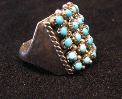 Image 2 of Zuni 5row 25stones Turquoise Snake Eye Ring, Peter Haloo, sz6-1/2
