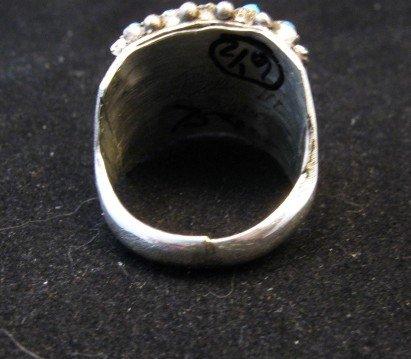 Image 3 of Zuni 5row 25stones Turquoise Snake Eye Ring, Peter Haloo, sz6-1/2