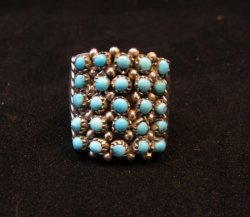 Zuni 5row 25stones Turquoise Snake Eye Ring, Peter Haloo, sz6-1/2