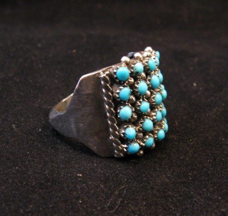 Image 2 of Zuni 5row 25stones Turquoise Snake Eye Ring, Peter Haloo, sz8