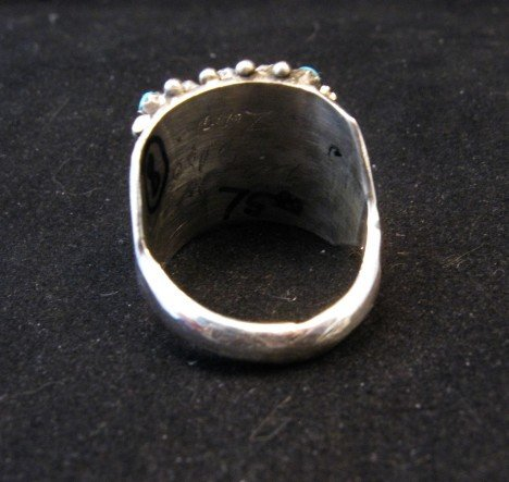 Image 3 of Zuni 5row 25stones Turquoise Snake Eye Ring, Peter Haloo, sz8