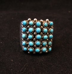 Zuni 5row 25stones Turquoise Snake Eye Ring, Peter Haloo, sz8