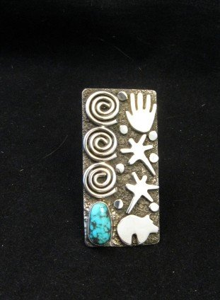 Image 1 of Big Navajo Alex Sanchez Petroglyph Turquoise Silver Ring sz7-1/2