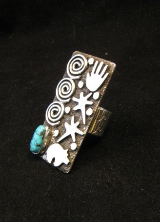 Image 3 of Big Navajo Alex Sanchez Petroglyph Turquoise Silver Ring sz7-1/2