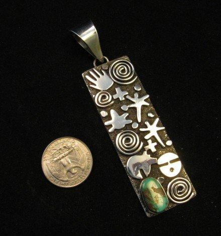 Image 2 of Navajo Alex Sanchez Petroglyph Long Royston Turquoise Silver Pendant